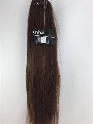 "Silky straight hair with 18 psc.clips in Extention 100gr. colour 4 (Dark Brown) 20"" (50 Cm)"