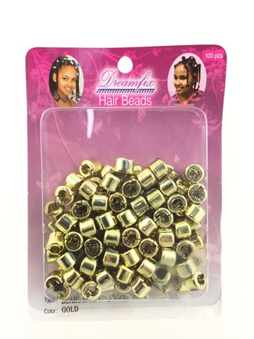 Hair beads snap on (clips) gold 1 pack (100 Pcs).