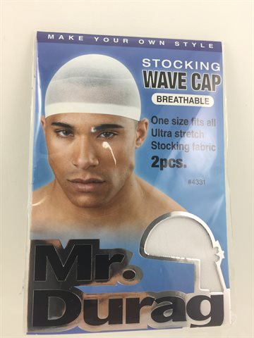 Stocking Wave Cap 2 in one pack. White. Mr. Durag